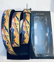 Paul Smith Men Belt 100% Leather Fish Print Yellow 34' With Box