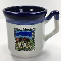 Vintage New Mexico Souvenir Blue Rim White Coffee Mug Tea Cup