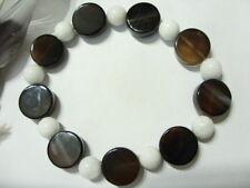 14 mm schwarze Achat Designer Armband Bracelet 19,6 cm m. weiße Jade auf Stretch