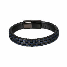 HSN Men's Stainless Steel Link and Woven Black Leather Bracelet