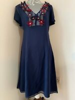Boden Limited Edition Silk Dress Size 14 Navy Flower embellishments Fully Lined