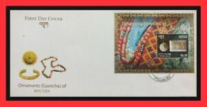 158.BHUTAN 2014 STAMP M/S ORNAMENTS (GYENCHA) OF BHUTAN FDC