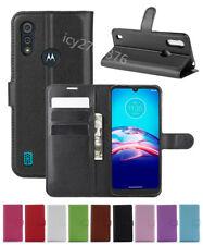 Leather slot wallet stand flip Cover Skin Case For Motorola Moto E6s (2020)
