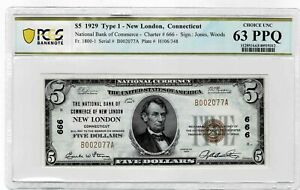 $5 1929 The NB of Commerce of New London, New London CT - CH#666 - PCGS 63PPQ