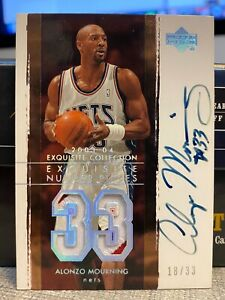 03-04 ALONZO MOURNING UD EXQUISITE NUMBER PIECES PATCH AUTO SP 18/33
