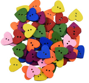 10-100 Nice Mixed Colour Heart Shaped Wooden 2 Hole Craft Buttons 2 sizes 1382