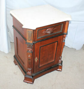 Antique Walnut Half Commode or Night Stand with White Marble Top