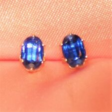 7mm X 5mm  OVAL NATURAL BLUE SAPPHIRE STUDS  IN STERLING SILVER over 2ctw