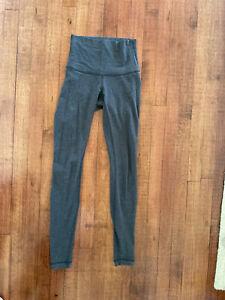 Lululemon Women's 2 Wunder Under Yoga Pants Tight Leggings Cotton Roll Down Gray