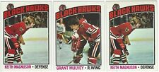 11 1976-77 TOPPS HOCKEY CHICAGO BLACK HAWKS CARDS (MAGNUSON x2/MULVEY+++)