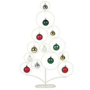 65cm White Plastic Metal Tall Christmas Table Top Tree Bauble Display Design