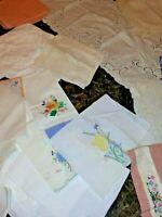 LOT Vintage Table Linens Cloths Topper Napkins Set Place Mats Embroidery 50+Item