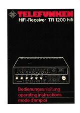 Bedienungsanleitung-Operating Instructions für Telefunken TR 1200