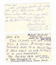 Vintage 1962 FAMOUS MONSTERS fan cards &1980s letter FORREST ACKERMAN COLLECTION