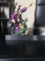 Myths And Legends Hand Painted Wizard And Dragon Statue/figurine By W. U. 2000