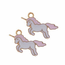 10 pcs Enamel Plated Unicorn Look Charms Pendants DIY Crafts Findings 22x12 MM