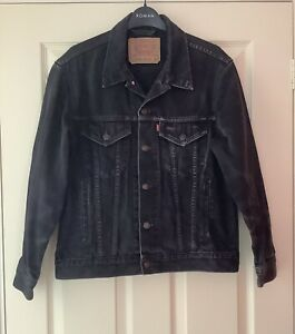 Vintage Levi Strauss Black Trucker Jacket Mens Size S Black Denim Jacket