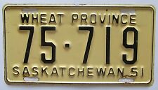 Saskatchewan 1951 License Plate HIGH QUALITY # 75-719