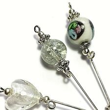3 Silver Hat Pins White Glass Bead Vintage Style Pin + Protectors