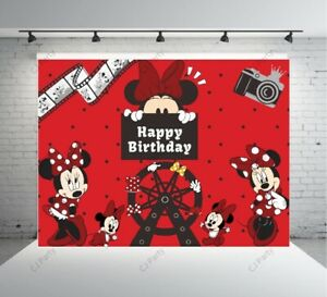 Red Minnie Mouse Happy Birthday Backdrop Minnie Mouse Birthday backdrop 7x5ft