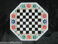 """12"""" Marble Game Chess Table Top Inlay Handicraft Work Home Decor & Gifts"""