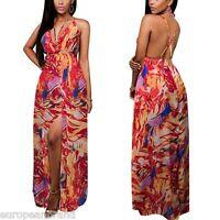 Women's Summer Chiffon V Neck Backless Split Beach Party Dress maxi UK 6 dress