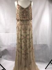 Adrianna Papell Dress Champagne Beaded Floral Gown Womens Size 14 BNWT
