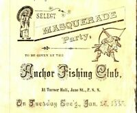 1883 ANCHOR FISHING CLUB INVITATION TURNER HALL MILWAUKEE CENTRAL QUADRILLE BAND