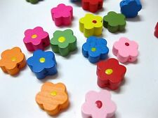 100 Mixed Bright Candy Color 12mm Flower Wood Beads~Wooden