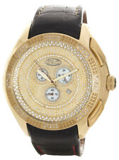 Grand-Master Men's Two-Tone Gold Diamond Black Leather Band Watch