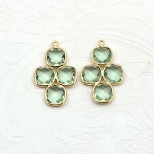 New Design Green Amethyst Gemstone Gold Plated Earring Connector Making Jewelry
