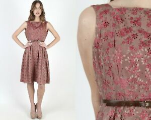 Vintage 50s Pink Eyelet Dress Cutout Floral Red Roses Open Back Knee Length Mini
