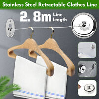 Stainless Steel Retractable Clothes Line Home Hotel Wall Hanging Clothesline