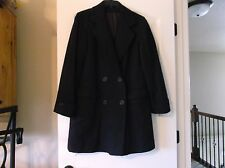 VINTAGE NAVY BLUE KNEE LENGTH FULLY LINED WOOL PEACOAT W/ FRONT POCKETS SIZE 8