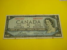 1954 - Canada five dollar bill - $5 Canadian note - UX8815387