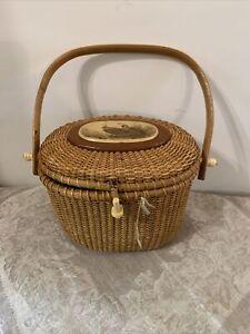 Vintage Barlow Scrimshaw Nantucket Basket Purse With Rare Quail Design