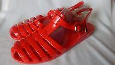 Damas Mujeres Gel Rojo Sandalias Gladiador Verano Playa Zapatos Talla 3 (36) NUEVO