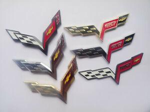 2pcs 3D Crossed Flags Car Body Side Door Fit 2014-2019 C7 Corvette Emblems