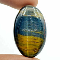 Cts. 39.75 Natural High Grade Chatoyant Blue Tiger Eye Cabochon Oval Gemstone