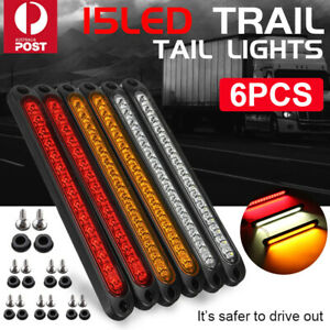 6pcs 15LED Trailer Truck Caravan UTE Stop Brake Tail Reverse Light Ultra-Slim