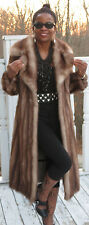 Full length designer Genuine Stone Marten Sable Fur coat  Jacket stroller S 0-6