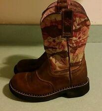 Ariat Kid's Girls Sierra Work Western Cowboy Boots Camo / Distressed Pink 11.5