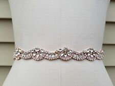 Wedding Belt, Bridal Belt, Sash Belt, Crystal Rhinestones with Rose Gold Accents