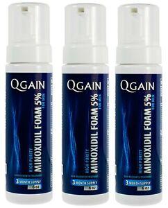 3 X Qgain MINOXIDIL FOAM 5% For MEN 9 month supply 3 X 180mL bottle
