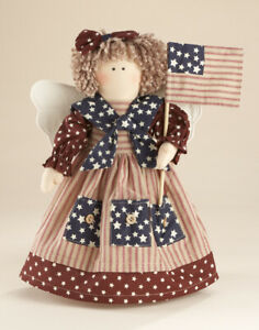 New Primitive Country Americana Patriotic ANGEL RAGGEDY ANN STUMP DOLL With FLAG