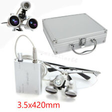 Medical Surgical Dental Binocular Loupes LED Head Light Lamp Aluminum Case 3.5X