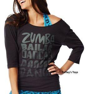 Zumba - Dance 3/4 Long Sleeve Tee - Black - size XS & Small  ~ New!
