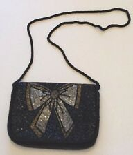VINTAGE BLACK BEADED EVENING BAG Destinee Silver Bronze Bow CLUTCH PURSE Cord
