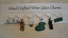 """""""GOLF"""" SET OF 6 Hand Crafted wine glass charm Drink Markers"""