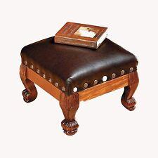 Foot Stool Fine Brown Wood Faux Leather Nailhead Trim Elegant.